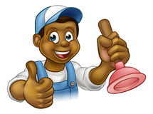 Cartoon Black Plumber Handyman Holding Punger Royalty Free Stock Photos