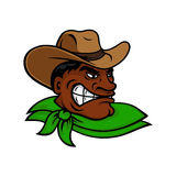Cartoon black rodeo cowboy or rancher character Stock Image