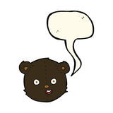 cartoon black teddy bear head with speech bubble Royalty Free Stock Photos