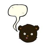 cartoon black teddy bear head with speech bubble Stock Images