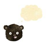cartoon black teddy bear head with thought bubble Stock Photo