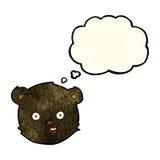 cartoon black teddy bear head with thought bubble Royalty Free Stock Photos
