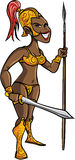 Cartoon black warrior woman with a sword Stock Photos