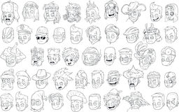 Cartoon black and white characters heads big vector set Stock Photography