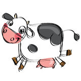 Cartoon black and white cow in a childish drawing style. Cartoon cattle in a naif doodle childish drawing isolated in white background Royalty Free Stock Photography