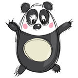 Cartoon black and white cute panda as naive children drawing. Friendly cartoon panda character in a naif kids drawings style with black simple outlines in white Royalty Free Stock Image