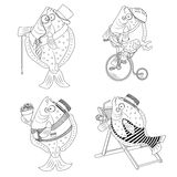 Cartoon black and white flat fish illustration set. 4 flat fish black and white Stock Photo