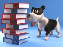 Cartoon black and white puppy dog looking at a stack of folders and files, 3d illustration. Render vector illustration