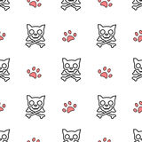 Cartoon black white and red seamless pattern background illustration with cat skull and paw Stock Photos