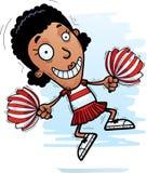 Cartoon Black Woman Cheerleader Jumping. A cartoon illustration of a black woman cheerleader jumping vector illustration