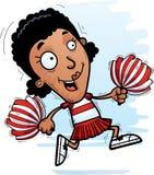 Cartoon Black Woman Cheerleader Running. A cartoon illustration of a black woman cheerleader running stock illustration