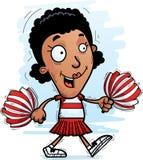Cartoon Black Woman Cheerleader Walking. A cartoon illustration of a black woman cheerleader walking royalty free illustration