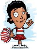Cartoon Black Woman Cheerleader Waving. A cartoon illustration of a black woman cheerleader waving royalty free illustration