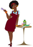 Cartoon black woman hairdresser standing in red apron Stock Photo