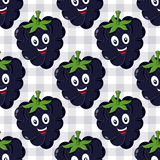 Cartoon Blackberry Seamless Pattern Stock Photos