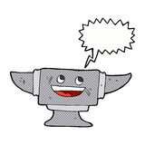 cartoon blacksmith anvil with speech bubble Stock Images