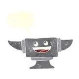 cartoon blacksmith anvil with speech bubble Stock Image