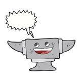 cartoon blacksmith anvil with speech bubble Royalty Free Stock Image