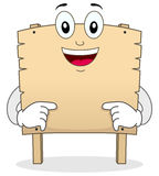 Cartoon Blank Wooden Banner Character Royalty Free Stock Photos