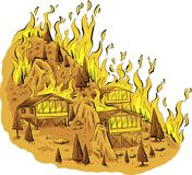 HIlltop Forest Fire. A cartoon of a blazing forest fire raging through trees and houses on a rocky hilltop Royalty Free Stock Photo