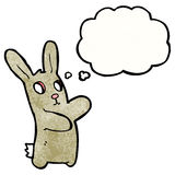 cartoon blind rabbit with thought bubble Stock Image