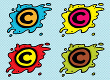Cartoon Blob Copyright Icons Royalty Free Stock Image
