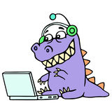Cartoon blogger croc played on laptop. Vector illustration. royalty free stock photo