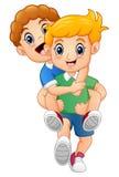 Cartoon blond boy giving his friend a piggyback ride stock illustration