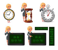 Cartoon blond business woman deadline set 2 Royalty Free Stock Photos