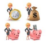 Cartoon blond business woman money set Royalty Free Stock Image