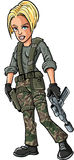 Cartoon blond female soldier with a sub machine gun Stock Images