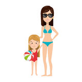 Cartoon blond girl with woman in bikini Royalty Free Stock Photos