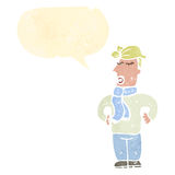Cartoon blond man with speech bubble Royalty Free Stock Photos