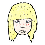 Cartoon blond woman's face Royalty Free Stock Photography