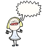 Cartoon blond woman talking loudly Stock Image