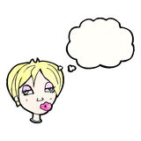 Cartoon blond woman with thought bubble Royalty Free Stock Photos