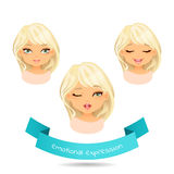Cartoon blonde girl with different expressions of emotion. Cute blue eyed blonde with different facial expressions. Set of different emotion: smile, winks Stock Photography