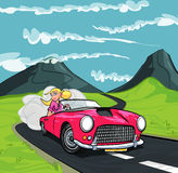 Cartoon of blonde girl driving a sports car Royalty Free Stock Images
