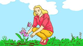 Cartoon blonde girl looking at the growing flowers outdoor on the nature on summer day. The blonde girl looking  at the growing flowers outdoor on the nature on Royalty Free Stock Photo