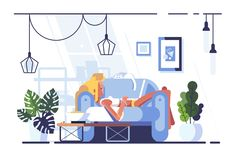 Cartoon blonde relaxing with laptop on sofa royalty free illustration