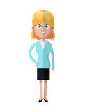 Cartoon blonde woman business with jacket skirt. Vector illustration eps 10 Stock Image