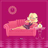 Cartoon blondy girl Royalty Free Stock Photos