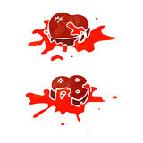 Cartoon blood splattered love hearts Stock Image