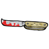 Cartoon bloody folding knife Stock Photography