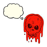 cartoon bloody skull with thought bubble Royalty Free Stock Photo