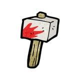 Cartoon bloody stone hammer Royalty Free Stock Photography