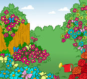 Cartoon blossoming garden Royalty Free Stock Images
