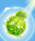 Cartoon blossoming globe Stock Image