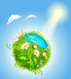 Cartoon blossoming globe Royalty Free Stock Photo