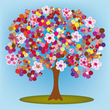 Cartoon blossoming tree with flowers and butterflies. Cartoon blossoming tree with colorful abstract flowers and butterflies Royalty Free Illustration